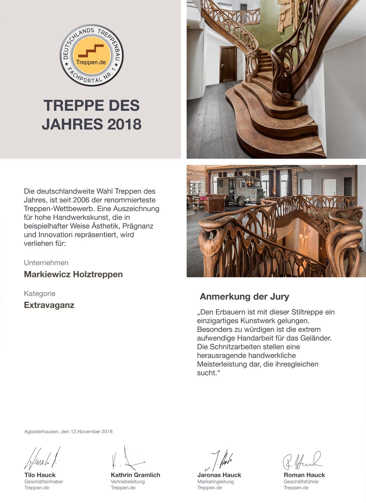 Pressebericht Treppe des Jahres 2018