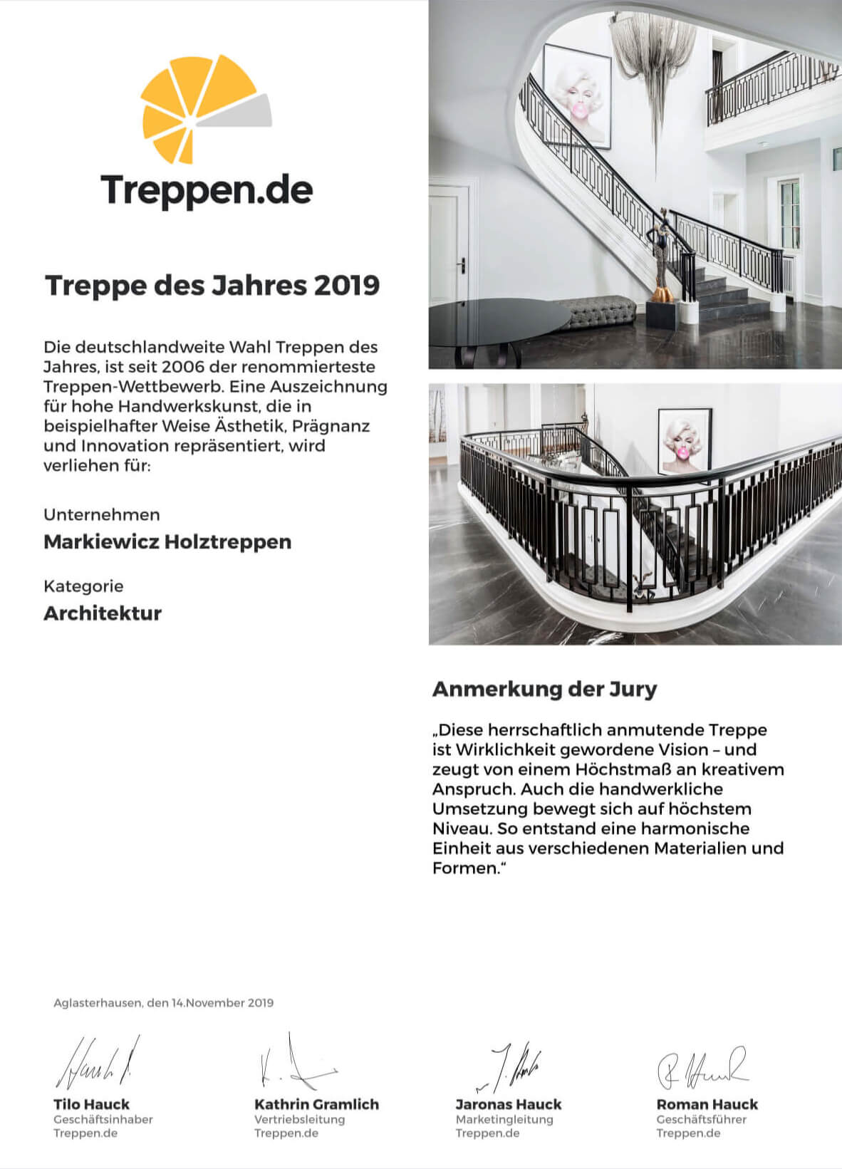 Pressebericht Treppe des Jahres 2019